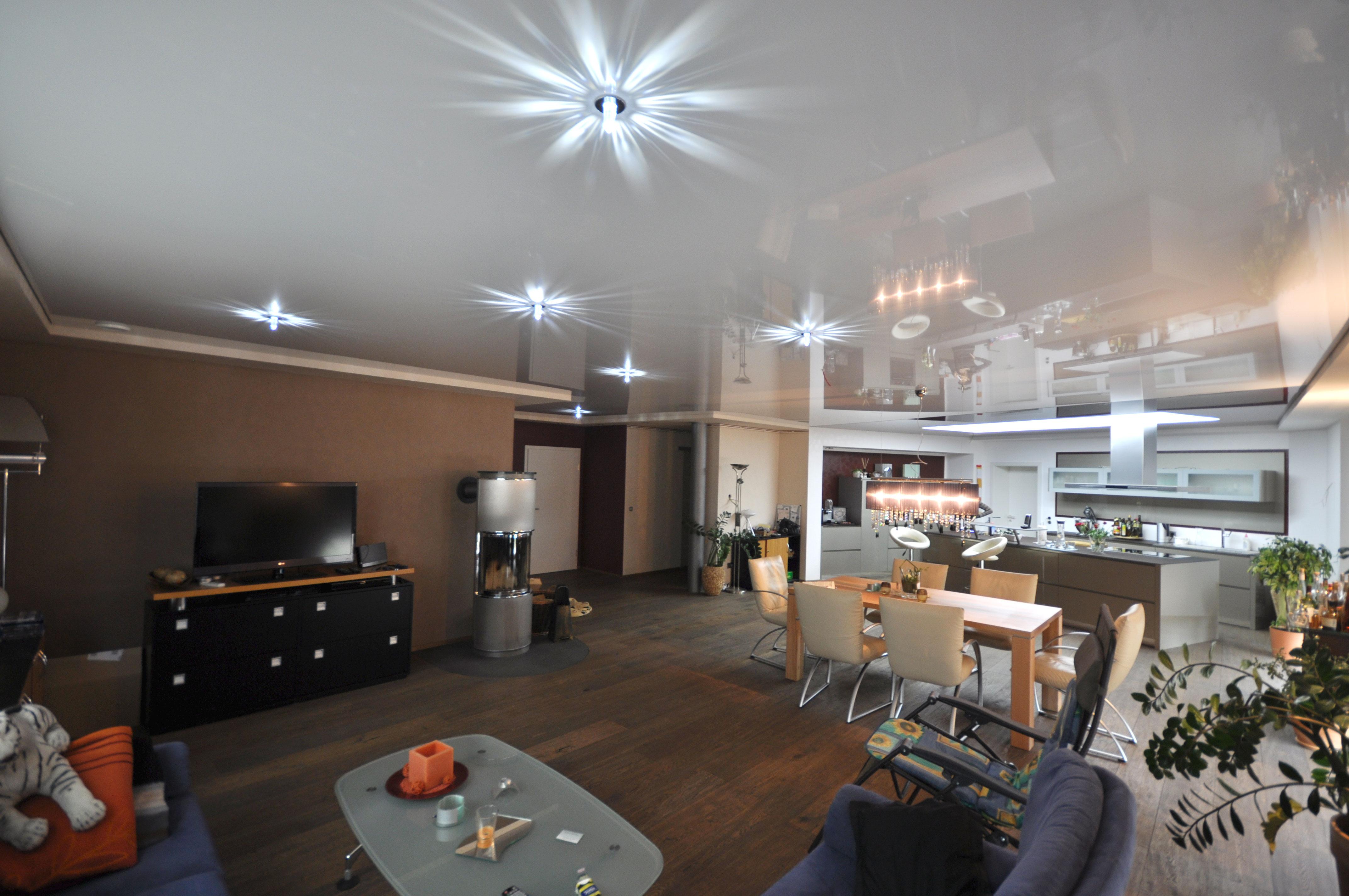 Spanndecken im Wohnzimmer  Spanndecken Duesseldorf Dortmund